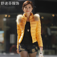 new arrival women's down cotton female short down coat raccoon fur fashion design