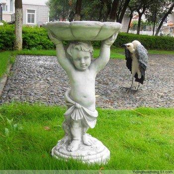 Fashion rustic home fish pond decoration boy pallet bird feeder flower pot fountain