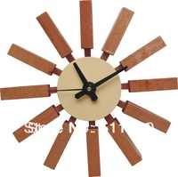 1 piece natural color Georger nelson wooden block wall clock