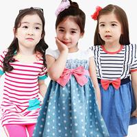 2013 children's clothing summer child dress female child vest one-piece dress dot tank dress