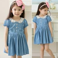 2013 summer female child girl solid color denim 9a-7 one-piece dress princess dress