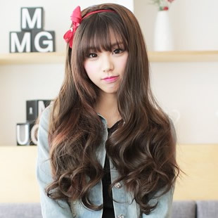 Big wave wig women's half wigs fashion fluffy long curly hair
