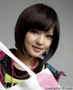 Oblique wig bangs bobo female elegant cute-type stubbiness real hair wig women's wifing