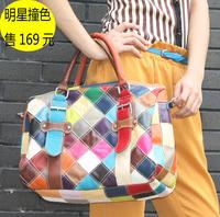 Travel bag multicolour personalized women's sheepskin patchwork handbag bucket bag women's handbag cross-body color block big
