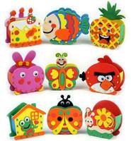 FREE SHIPPING Animal Cartoon brush pot,3D eva handmade puzzles, DIY children hand sticker,Children's Gift educational toys