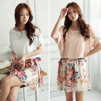 Sweety New dress summer casual Women's Charming Crewneck Chiffon Short Sleeve Floral Dress 2 colorsr Free Shipping # L0341063