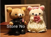 The teddy bear wedding toy a couple,PP cotton, short plush ,hight 25cm
