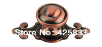 Single Furniture Red Zinc Alloy Bronze Copper Plating Kitchen Knobs Cabinet Handle Drawer Pull Novelty Drawer Pulls