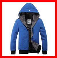 2013  Men's  Thickening  Flannel  Cardigan  Overcoat  With A Hood   G1299