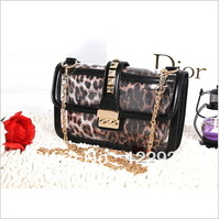 2013 Korean style candy bag leopard clutch, rivet package, transparent chain shoulder bag, Messenger packet, free shipping
