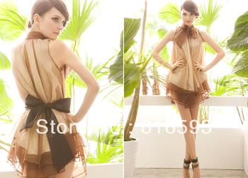 Free Shipping AN70077# Cute Princess Imitation SIlk Multilayered Bow Tied Stand Collar Asymmetric Lap Loose Mini Dress