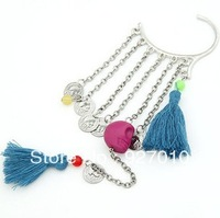 Min order is $10(mix order) Skull tassel ear hook earrings single metal chains tassels women girls ear cuff clips earrings EH420
