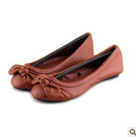 A cow simple brown round toe super soft muscle single shoes outsole bow plus size flat