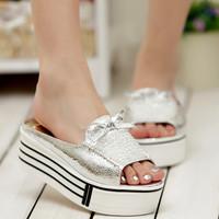 2013 summer shiny dot sweet wedges high-heeled platform drag platform female slippers