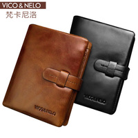 Viconelo first layer of cowhide genuine leather wallet gift lovers design british style male wallet
