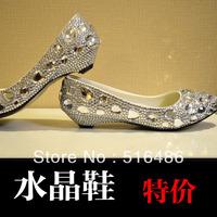 2013 fashion Crystal wedding shoes low-heeled silver rhinestone bride pumps party wedding  bridesmaid shoes handmade