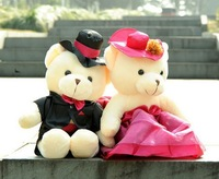 Hight 35 cm color wedding couple bear plush toys, plush doll,Free shipping!