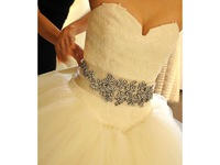 Free shipping new arrival extravagant 100% handmade crystal bridal belt wedding dress accessiroes