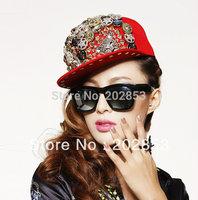 Free Shipping Punk style Rock Hiphop Bigbang personality jazz hat baseball cap Men/ Women Spike Studs Rivet Cap Hat