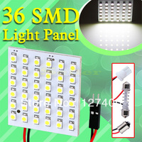 DHLfree shipping 100pcs 36 SMD Pure White Light Panel T10 BA9S Festoon Dome 36 LED Interior Bulb Lamp