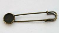 FREE SHIPPING 20PCS Antiqued bronze 12mm Cabochon Settings Brooch Pin #22965