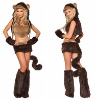 2013 New Brown Adult Naughty Girl Furry Monkey Fancy Dress Halloween Costume Full Outfit