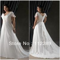Summer Style White V-neck Cap Sleeve Long Wedding Dresses For Fat Woman HZ3050