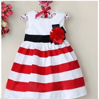 2013 new arrived 5pcs/1lot children's dress 100%  cotton stripe dress flower girls dress red free shipping