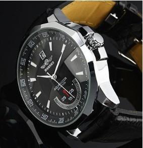whole goer fashion leather automatic mechanical watch men case size 3 8 5 2cm