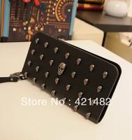 Skull wallet clutch bag multi card holder ladies handbag new style novelty fashion street free shipping