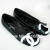 Best Selling!!Fashion new comfortable genuine leather bowtie quilted ballet flat shoes single shoes Free Shipping