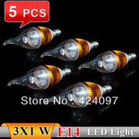 RGB light 5 Pcs/lot E14 3w White/Warm white High Power LED Bulb Lamp Candle Light Energy Saving AC85-265V Free Shipping