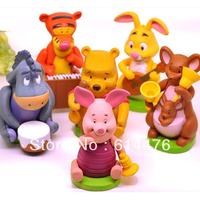 Free shipping 100packs/lot (6 pieces/pack) Mini Figures:Bear, Piglet, Tigger, Eeyore, Kanga, Rabbit Cute toy figures