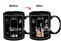 Free FedEx shipping 48pcs/lot Tetris Color Changing Mug Amazing Ceramic Cup Coffee Cup 1 yr warranty