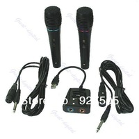 Free Shipping 5in 1 Wired Karaoke Microphone Mic Set For PS2 PS3 Xbox 360 PC Nintendo Wii New