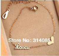 Min order $15(mix order)Titanium Steel 14K rose gold color love letter heart anklet for women