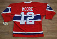 Free shipping/ ice Hocky jersey 12# Moore red / white 100%Polyester and Embroidery patch!