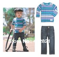 CS033 high quality boys clothing set childrens clothes striped tshirt + jean pants boys fashion suit 1set retail free shipping