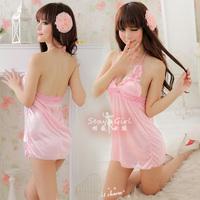 New arrival pure pink young girl ruffle hem sexy sleepwear 5097