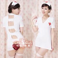 Deep V-neck racerback nursing uniforms three pieces set 7032 women's sexy underwear lingerie