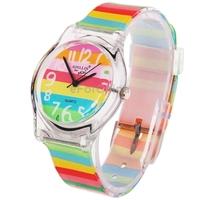 Rainbow Pattern Cartoon Style Three Degrees of Waterproof Japan Quartz Watch with Watch Hand/TPU Watchband