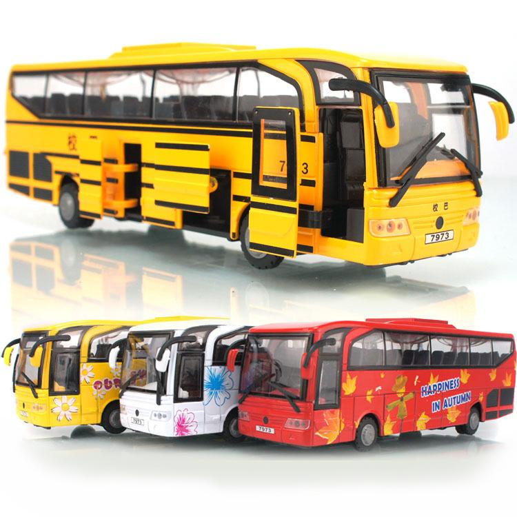 Alloy acoustooptical bus toy car school bus big bus bus large coach(China (Mainland))