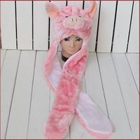 Free shipping lovely Cartoon Animal Hat pink pig Warm Cap Plush Hat