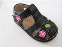 Children shoes cutout flower summer leather sandals soft outsole cow muscle shoes outsole sound