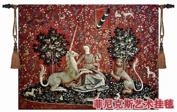 Belgium medieval home decoration textile unicorn series - visual big 138*103cm jacquard fabric picture tapestry wall hangings