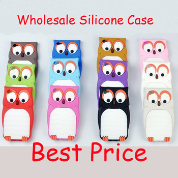 Wholesale Lot 10pcs New Cute 3D Owl Design Soft Cartoon nighthawk Silicone Back Case Cover Skin for Apple iPhone 4 4G 4S