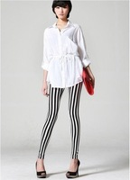 Min.order is $10 (mix order) Popular black-and-white full vertical stripes were thin Leggings DQ-0015