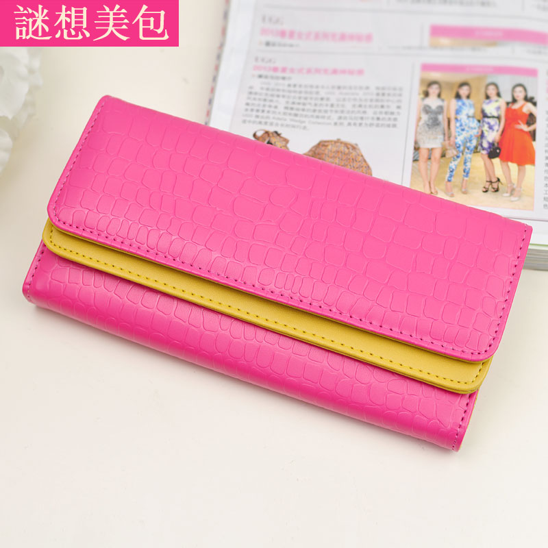 Wallet female flip double knitted stone pattern long design women's wallet women's wallet(China (Mainland))