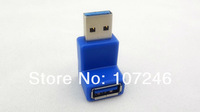 2pcs/lot High Quanlity 90 Degree UP Right Angle Blue USB 3.0 A Male to Female M/F Connector Extension Adapter Free Shipping