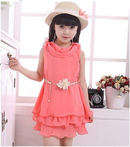 a53bdc11f Frozen baby girl chiffon dress Korean style summer dresses for girls  princess dress With Belt kid dress A058